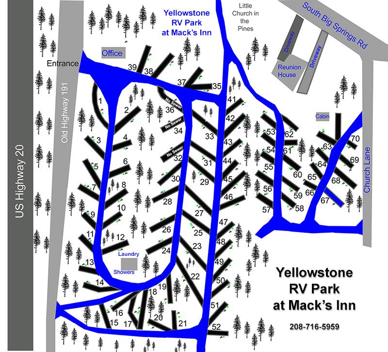 Yellowstone RV Park at Mack's Inn Site Map